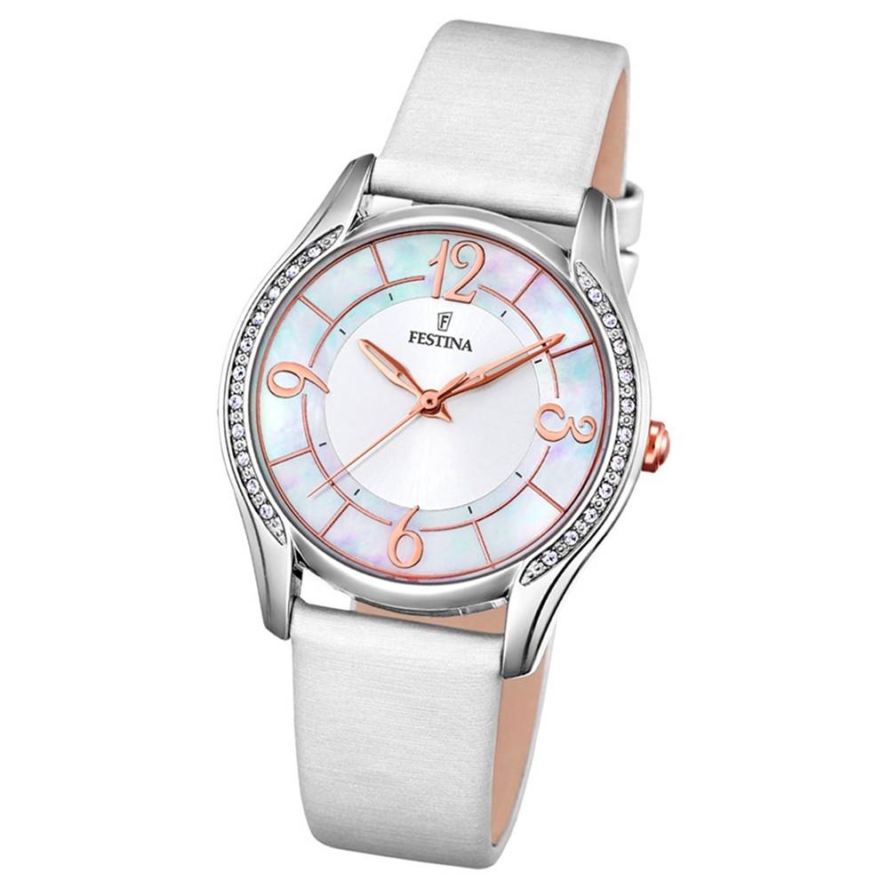 Festina Damen-Armbanduhr Mademoiselle analog Quarz Leder Textil weiß UF16944/1