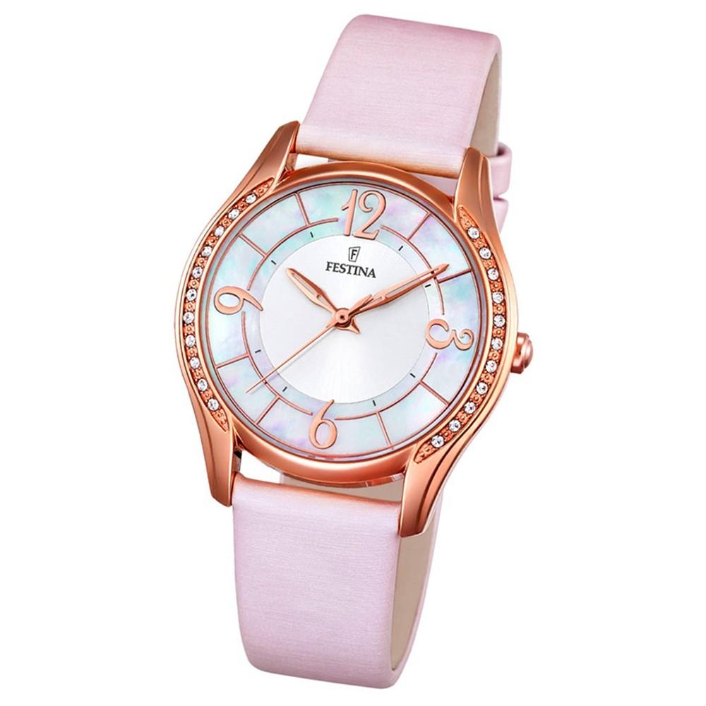 Festina Damen-Armbanduhr Mademoiselle analog Quarz Leder Textil rosa UF16946/1