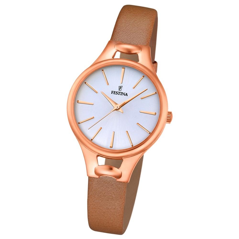 Festina Damen-Armbanduhr Mademoiselle analog Quarz Leder hellbraun UF16956/1