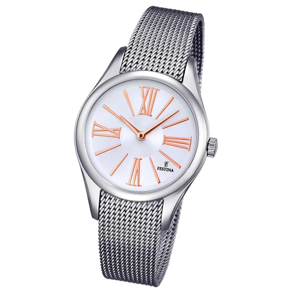 Festina Damen-Armbanduhr Boyfriend analog Quarz Edelstahl silber UF16962/1