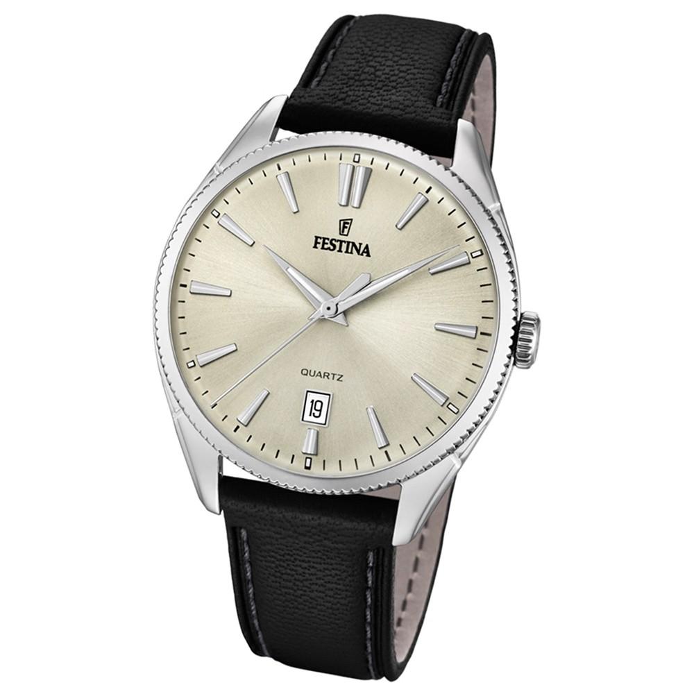 FESTINA Herren-Uhr Lederband klassisch F16977/3 Quarz Leder schwarz UF16977/3
