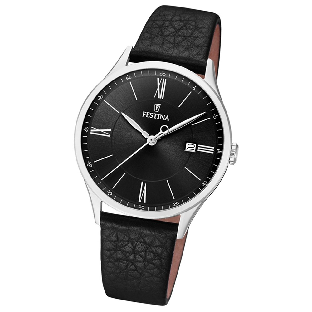 FESTINA Herren-Uhr Lederband klassisch F16978/4 Quarz Leder schwarz UF16978/4