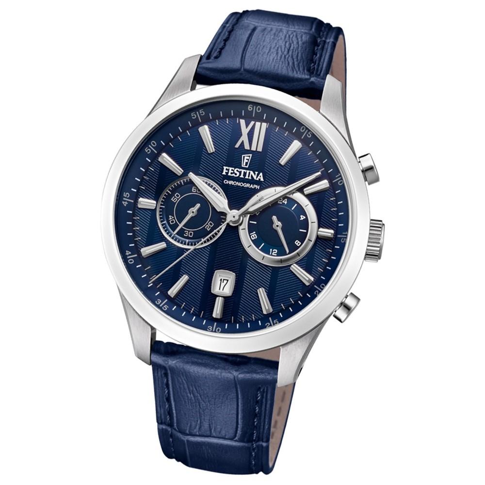 FESTINA Herren-Armbanduhr Chronograph F16996/3 Leder blau UF16996/3