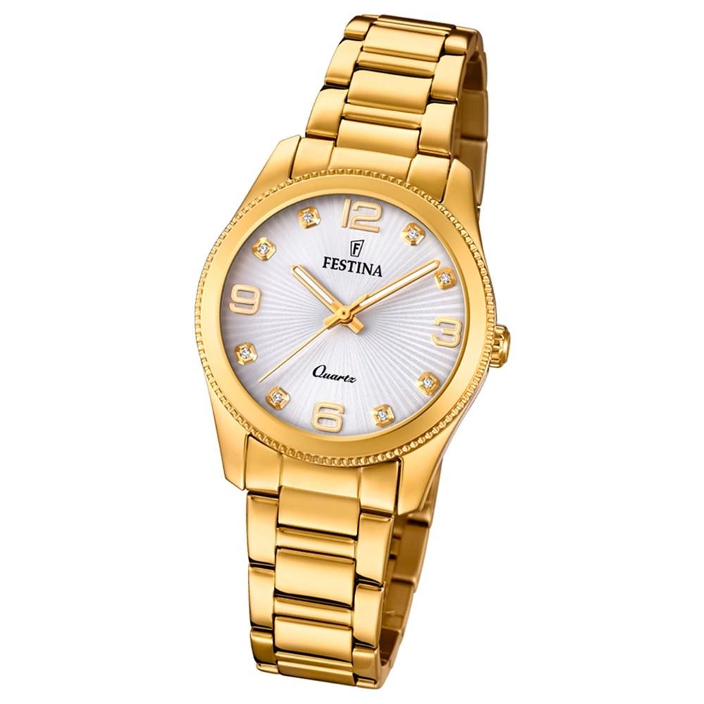 Festina Damen Armband-Uhr Boyfriend F20210/1 Quarz Edelstahl gold UF20210/1