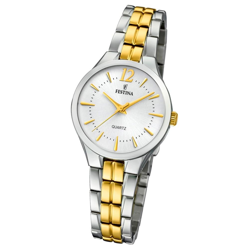 Festina Damen Armband-Uhr F20217/1 Quarz Edelstahl silber gold UF20217/1