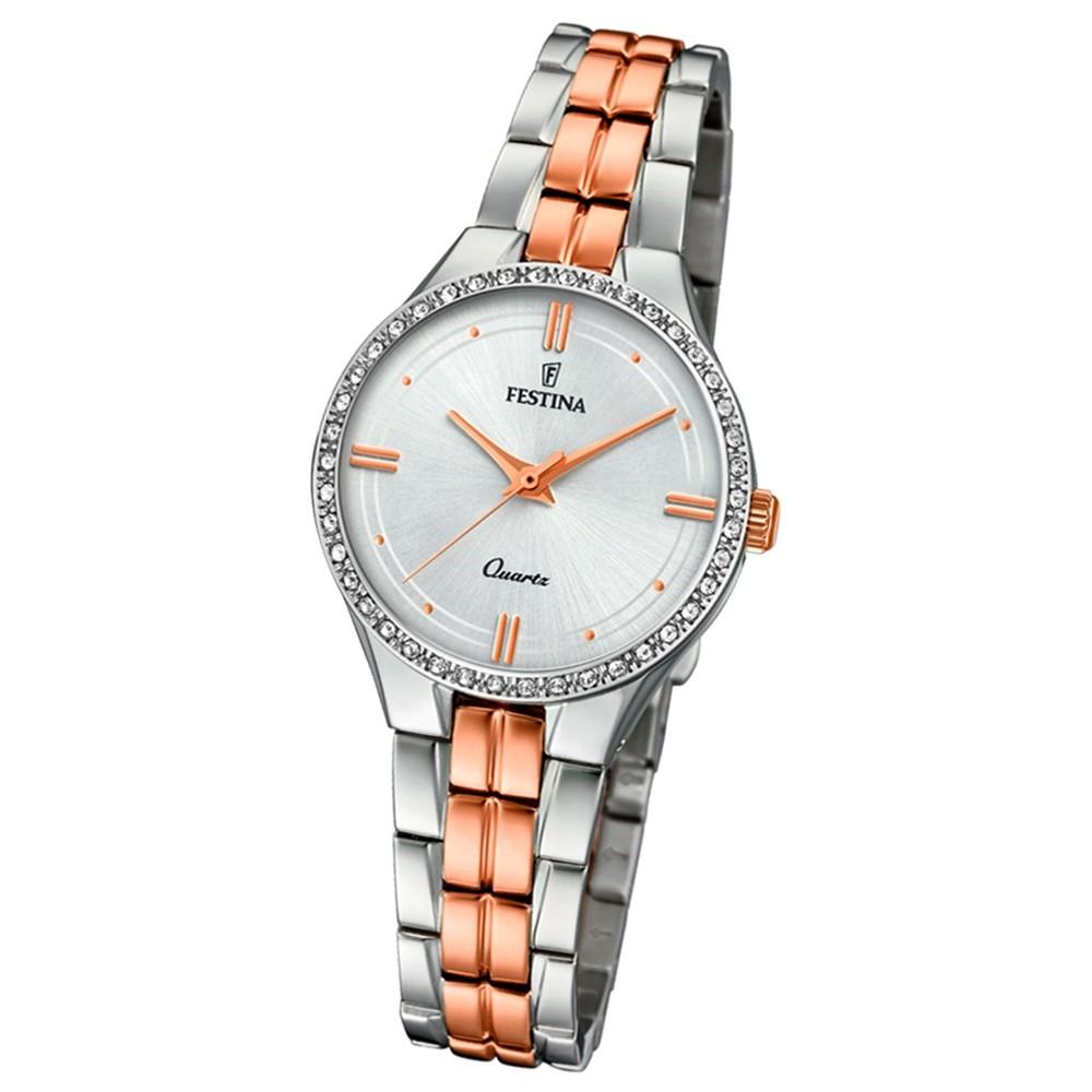 Festina Damen Armband-Uhr F20219/2 Quarz Edelstahl silber roségold UF20219/2