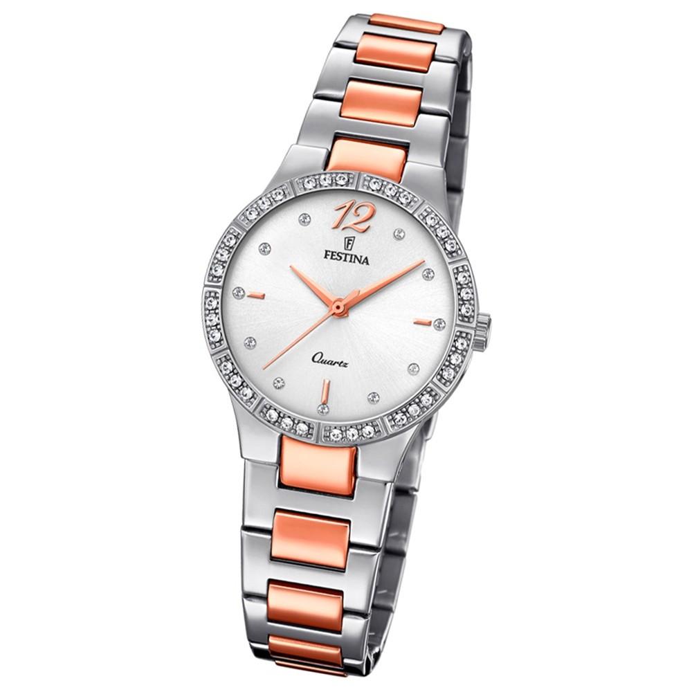 Festina Damen Armband-Uhr F20241/2 Quarz Edelstahl silber roségold UF20241/2