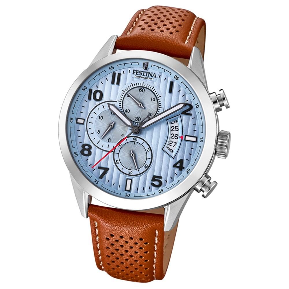 Festina Herren Uhr Chronograph F20271/4 Quarz Leder hellbraun UF20271/4