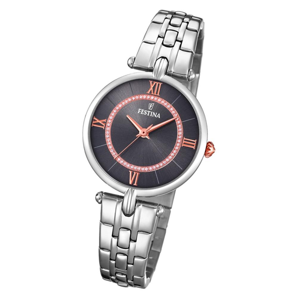 Festina Damen Armbanduhr Analog F20315/2 Quarz Edelstahl silber UF20315/2