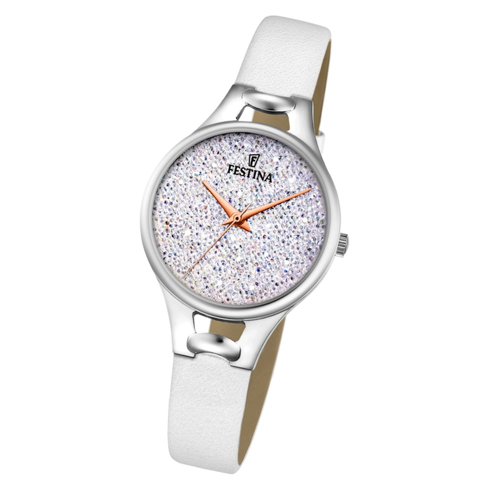 Festina Damen Uhr Swarovski Elements F20334/1 Leder Armband weiß UF20334/1