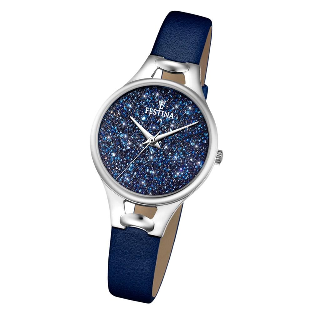 Festina Damen Uhr Swarovski Elements F20334/2 Leder Armband blau UF20334/2