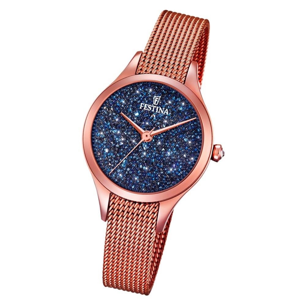 Festina Damen Uhr Swarovski Elements F20338/3 Edelstahl Armband rosé UF20338/3