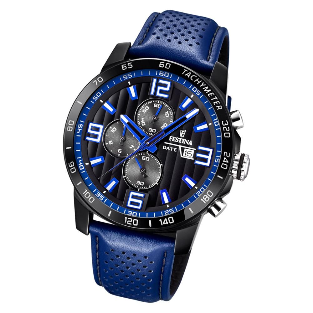 Festina Herren Armbanduhr Analog F20339/4 Quarz Leder blau UF20339/4