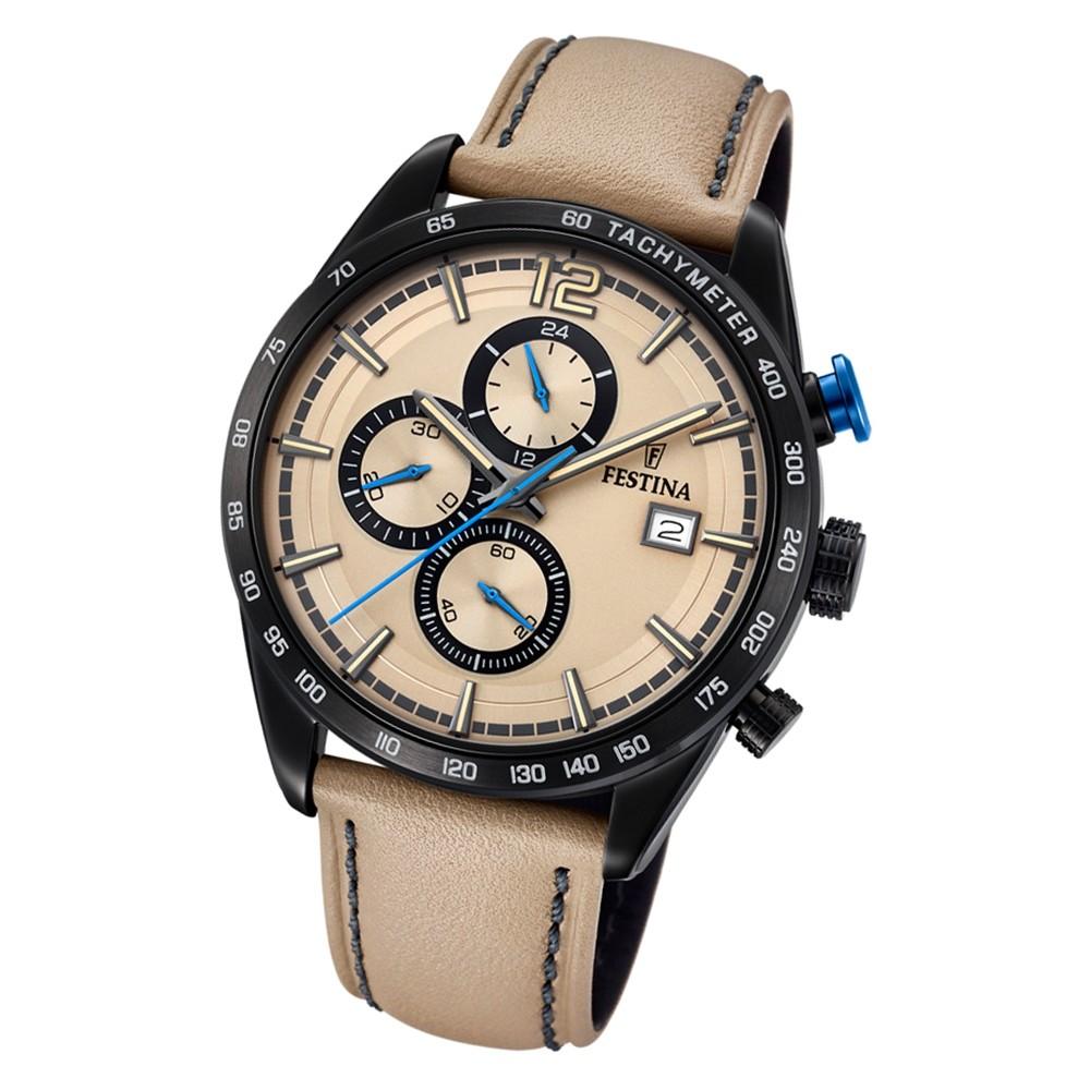 Festina Herren Armbanduhr Chronograph Sport F20344/1 Quarz Leder beige UF20344/1