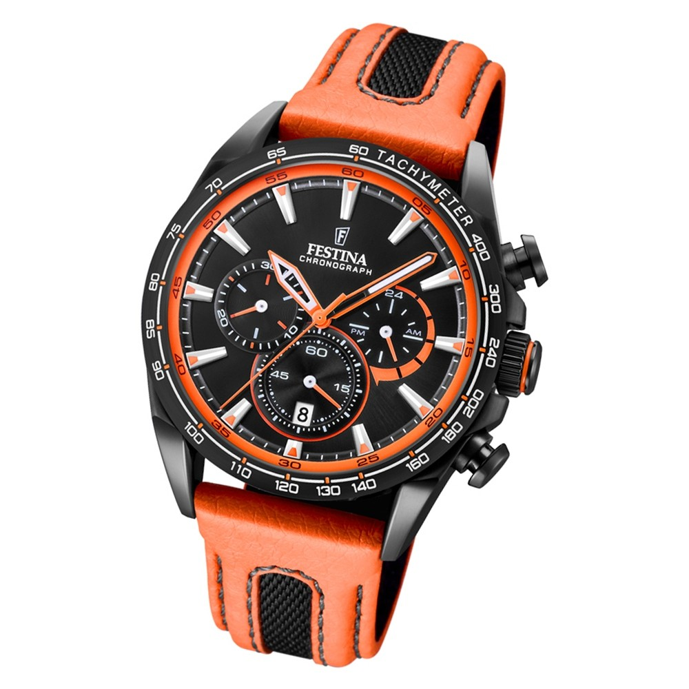 Festina Herren Armbanduhr The Originals F20351/5 Leder orange schwarz UF20351/5