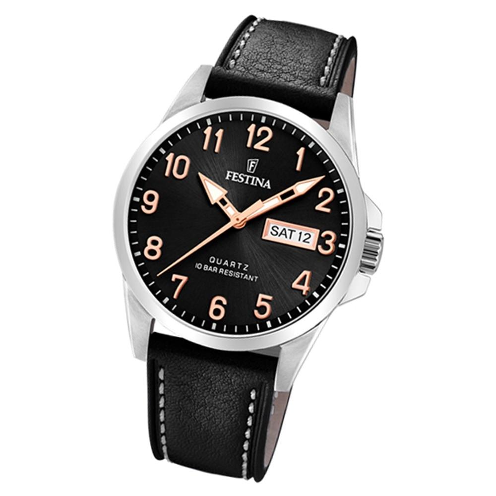 Festina Herren Armbanduhr Klassik F20358/D Quarz Edelstahl schwarz UF20358/D