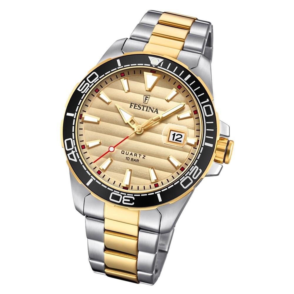 Festina Herren Armbanduhr Prestige F20362/1 Edelstahl silber gold UF20362/1