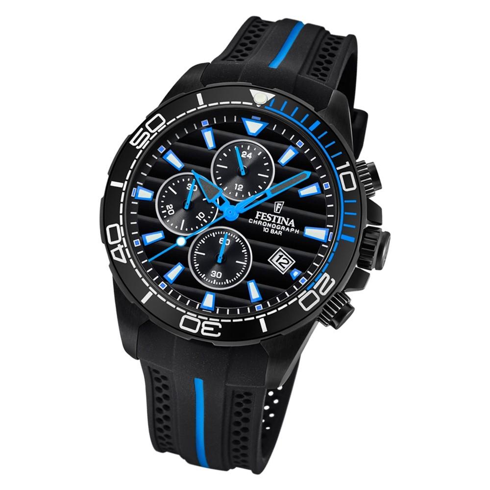 Festina Herren Armbanduhr The Originals F20366/2 Quarz PU schwarz blau UF20366/2