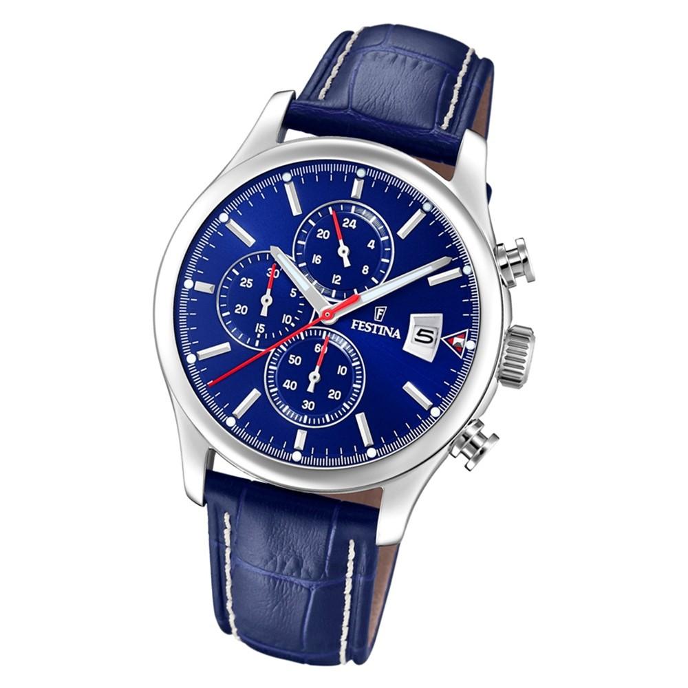 Festina Herren Armbanduhr Time Chronograph F20375/2 Quarz Leder blau UF20375/2