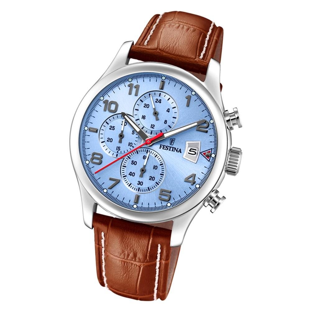 Festina Herren Armbanduhr Time Chronograph F20375/5 Quarz Leder braun UF20375/5