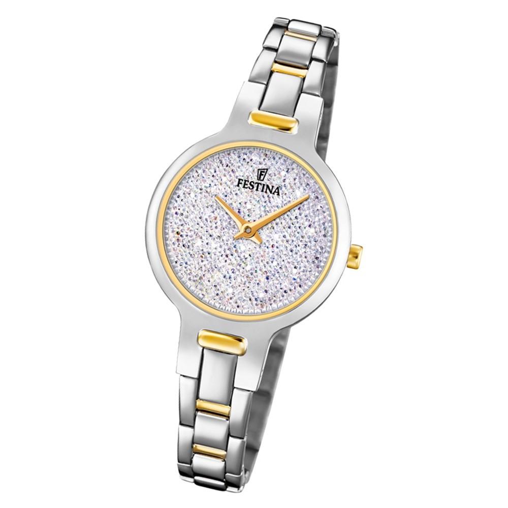 Festina Damen Armbanduhr Mademoiselle F20380/1 Edelstahl silber gold UF20380/1
