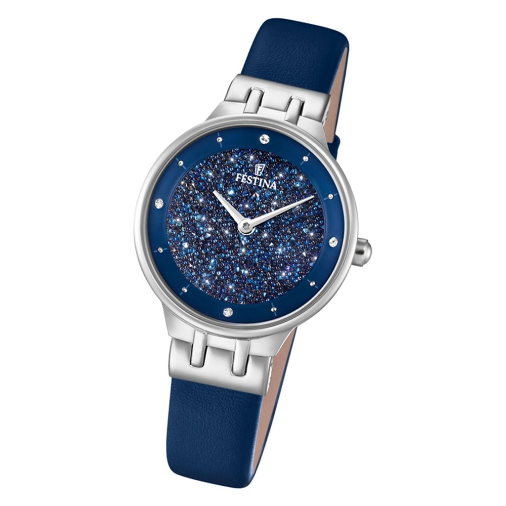 Festina Damen Armbanduhr F20404/2 Swarovski Elements Edelstahl blau UF20404/2