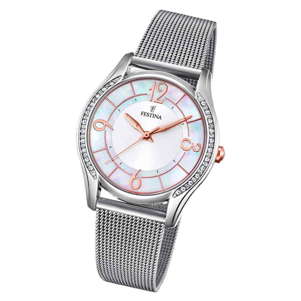 Festina Damen Armbanduhr Mademoiselle F20420/1 Quarz Edelstahl silber UF20420/1