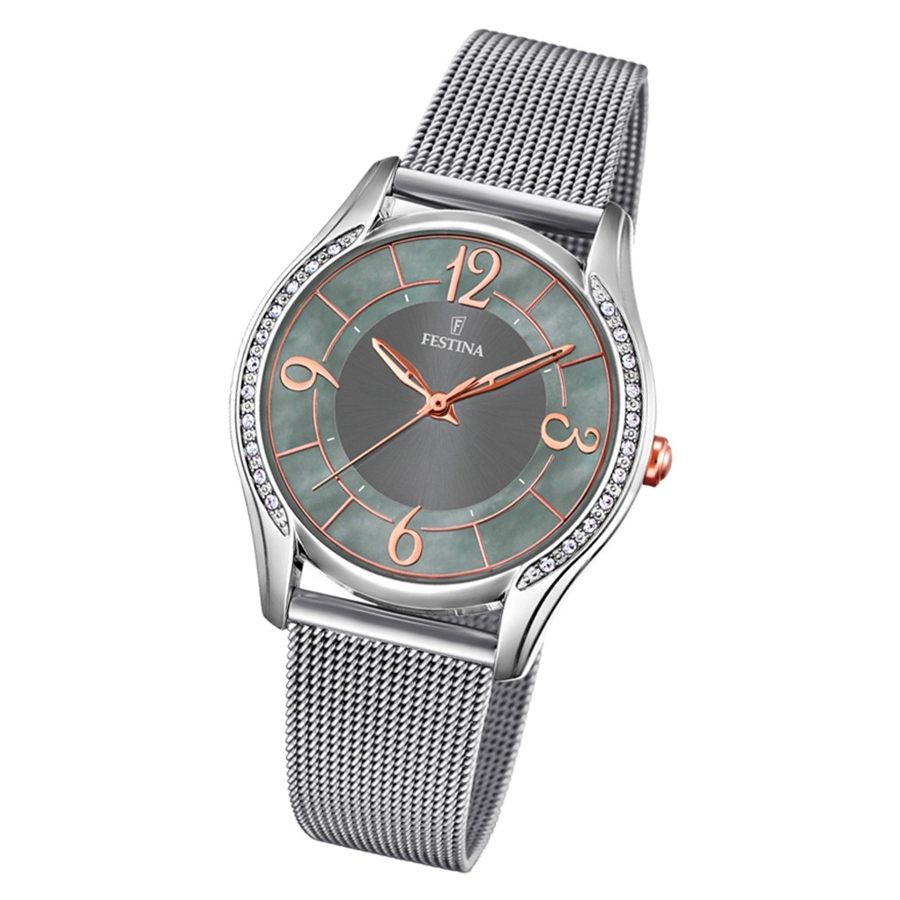 Festina Damen Armbanduhr Mademoiselle F20420/2 Quarz Edelstahl silber UF20420/2