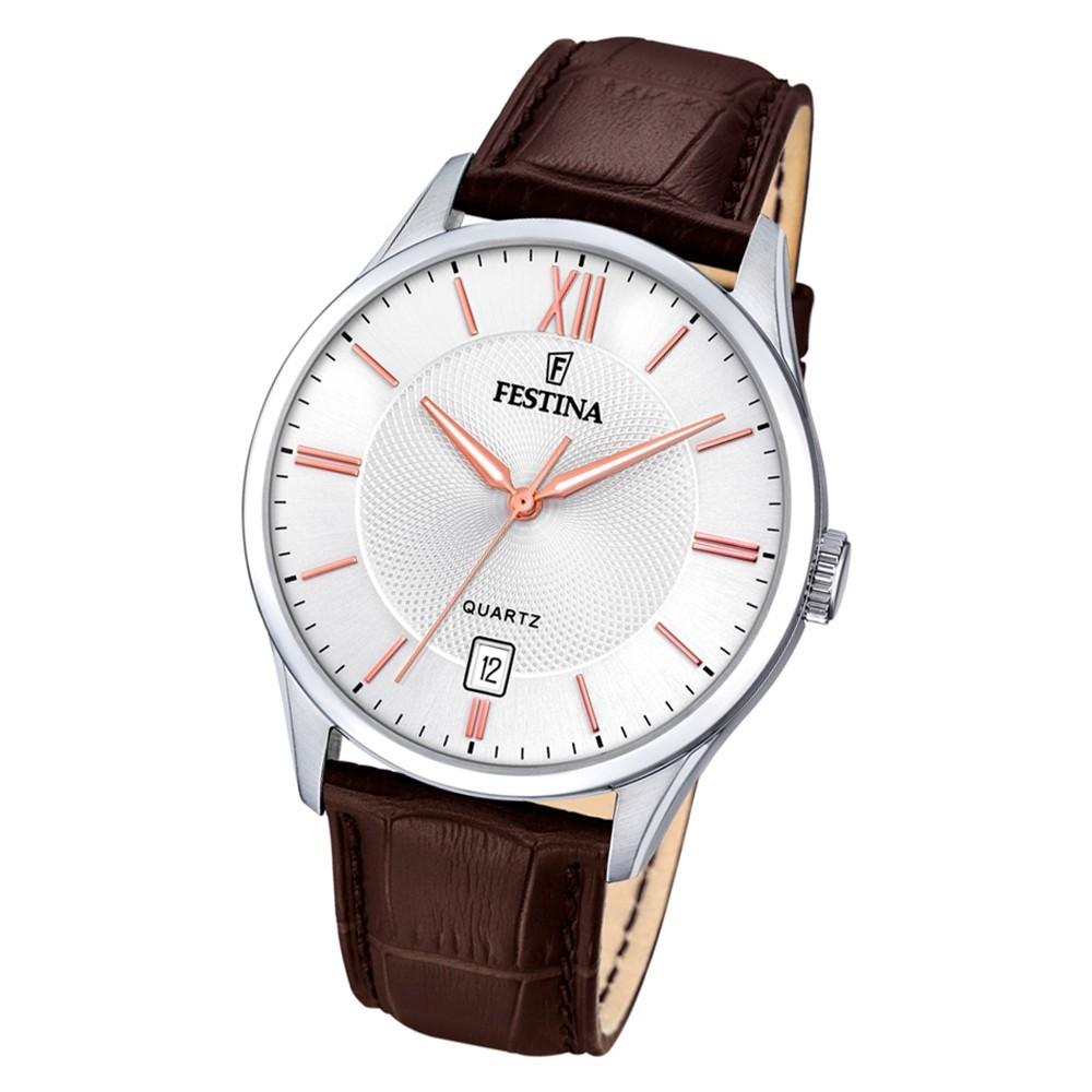 Festina Herren Armbanduhr Klassik F20426/4 Quarz Leder dunkelbraun UF20426/4