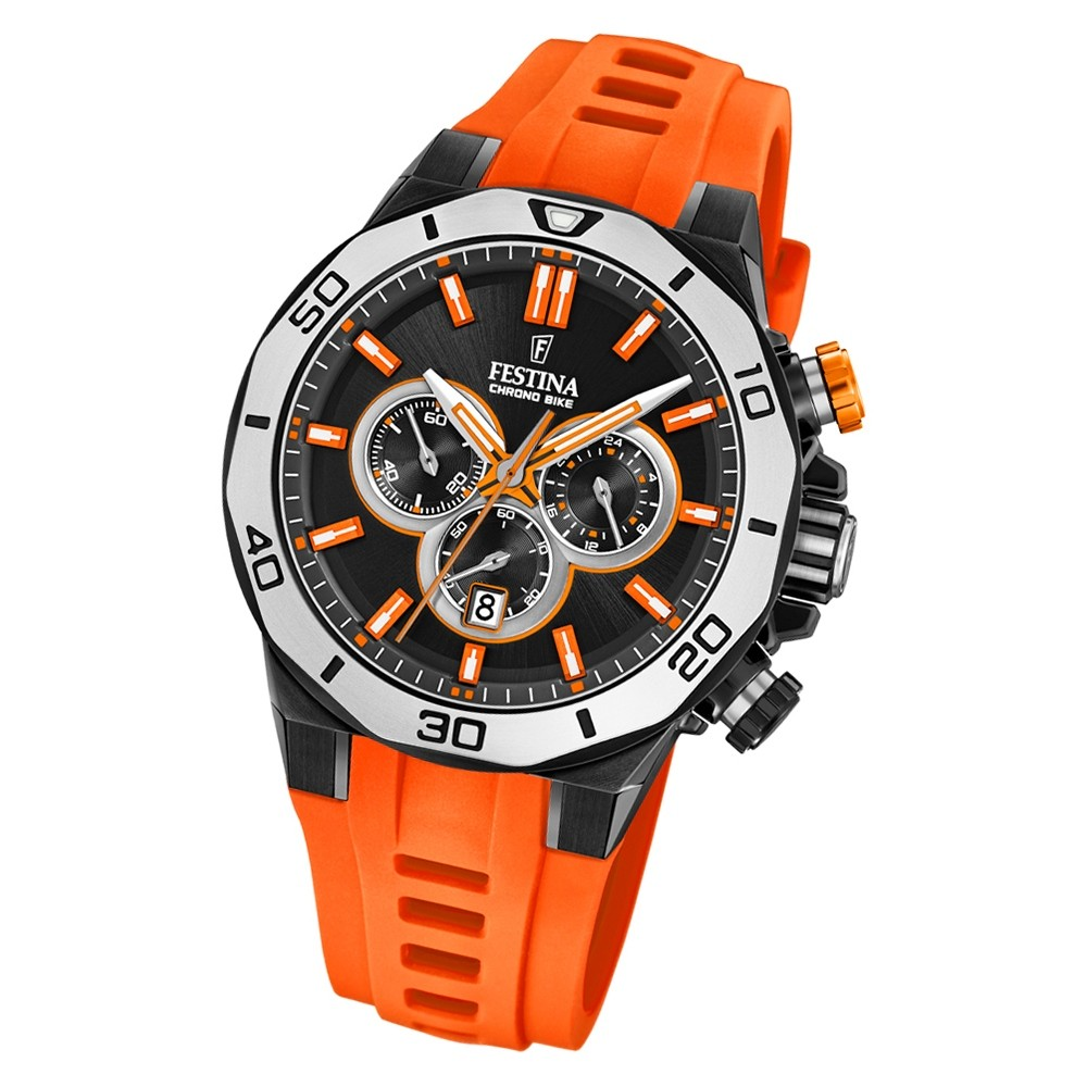 Festina Herren Armbanduhr Chrono Bike F20450/2 Quarz Silikon orange UF20450/2