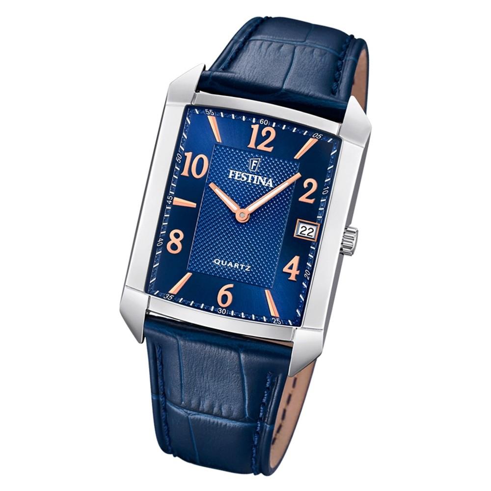 Festina Herren Armbanduhr Klassik F20464/2 Quarz Leder blau UF20464/2