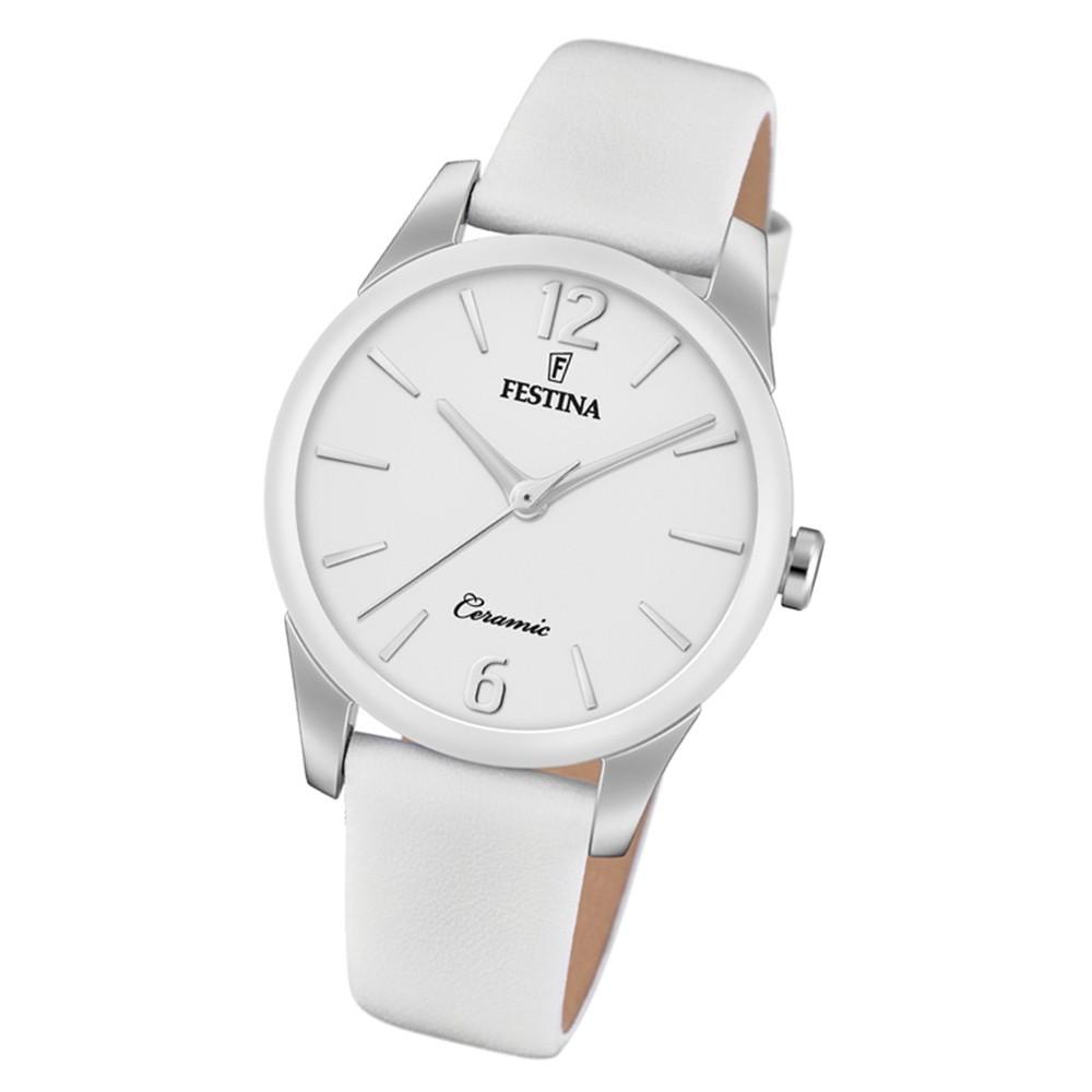 Festina Damen Armbanduhr Trend F20473/4 Quarz Leder weiß UF20473/4