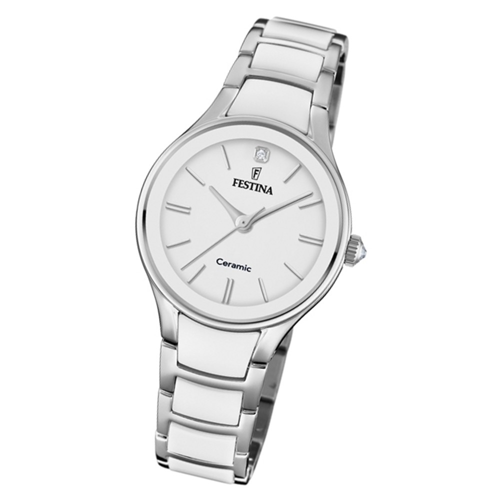 Festina Damen Armbanduhr Ceramic F20474/1 Edelstahl weiß silber UF20474/1