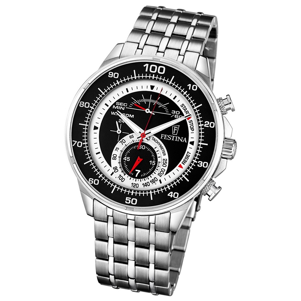 FESTINA Herren-Armbanduhr Chronograph Quarz Edelstahl silber UF6830/2