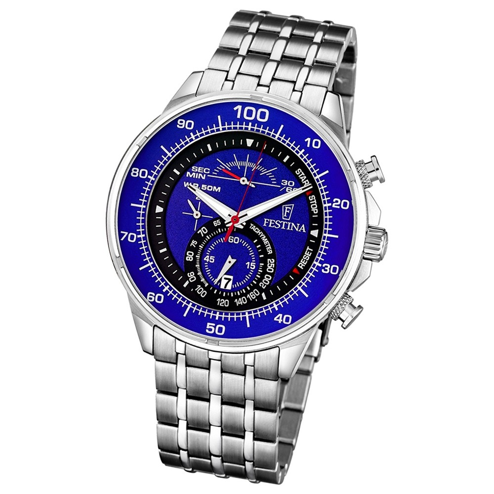 FESTINA Herren-Armbanduhr Chronograph Quarz Edelstahl silber UF6830/3
