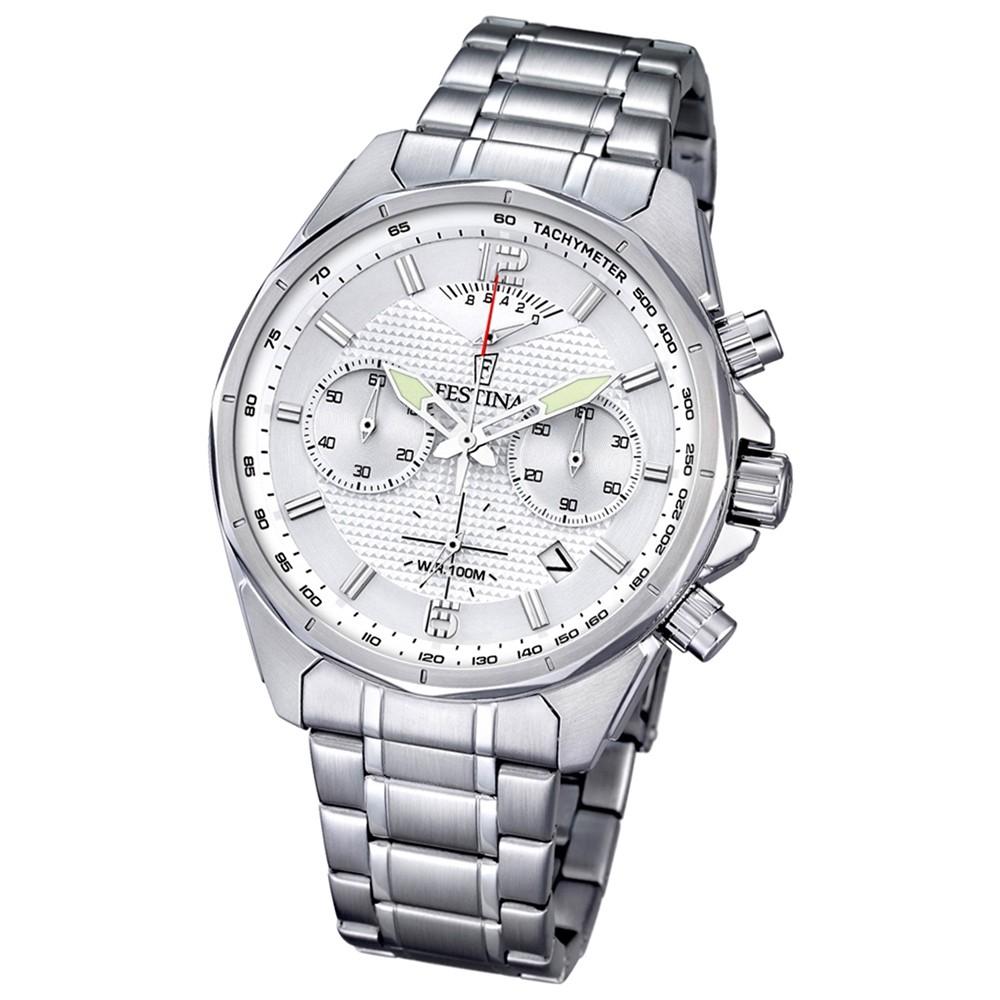 FESTINA Herren-Armbanduhr Timeless Chronograph Quarz Edelstahl silber UF6835/1