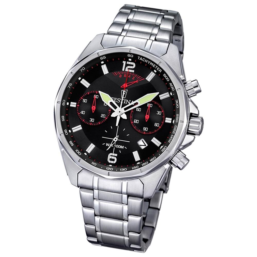 FESTINA Herren-Armbanduhr Timeless Chronograph Quarz Edelstahl silber UF6835/2