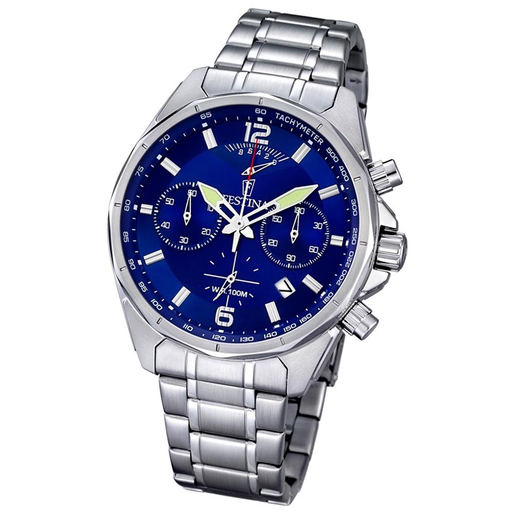 FESTINA Herren-Armbanduhr Timeless Chronograph Quarz Edelstahl silber UF6835/3