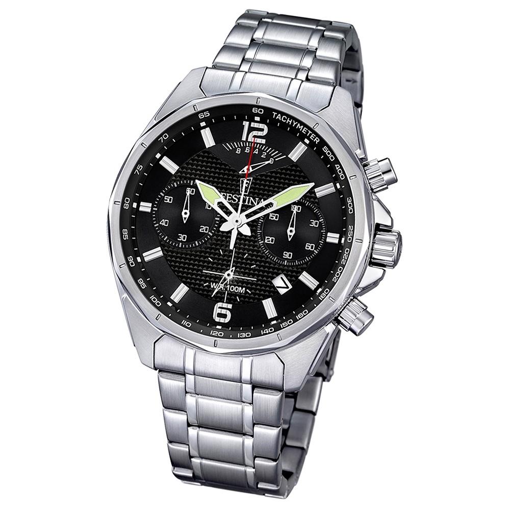 FESTINA Herren-Armbanduhr Chronograph Quarz Edelstahl silber Sport Uhr UF6835/4