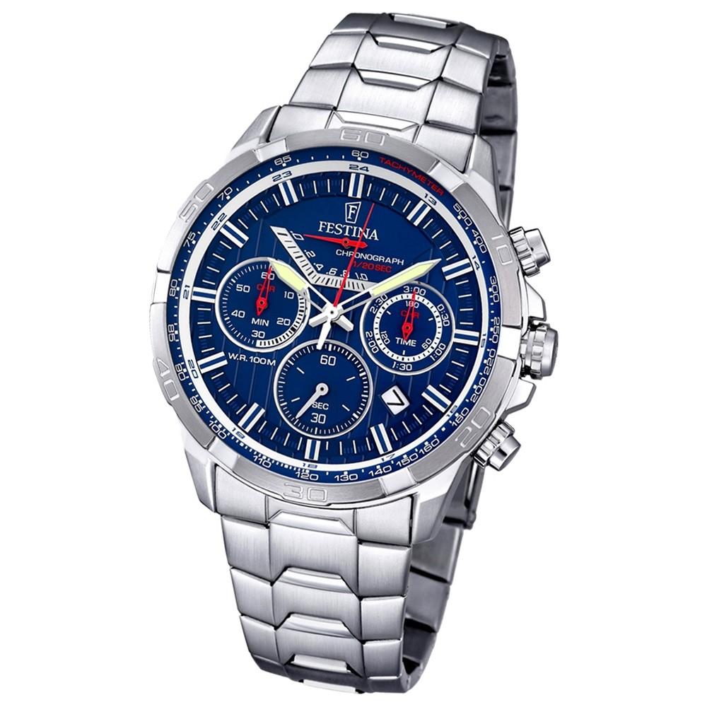 FESTINA Herren-Armbanduhr Timeless Chronograph Quarz Edelstahl silber UF6836/3