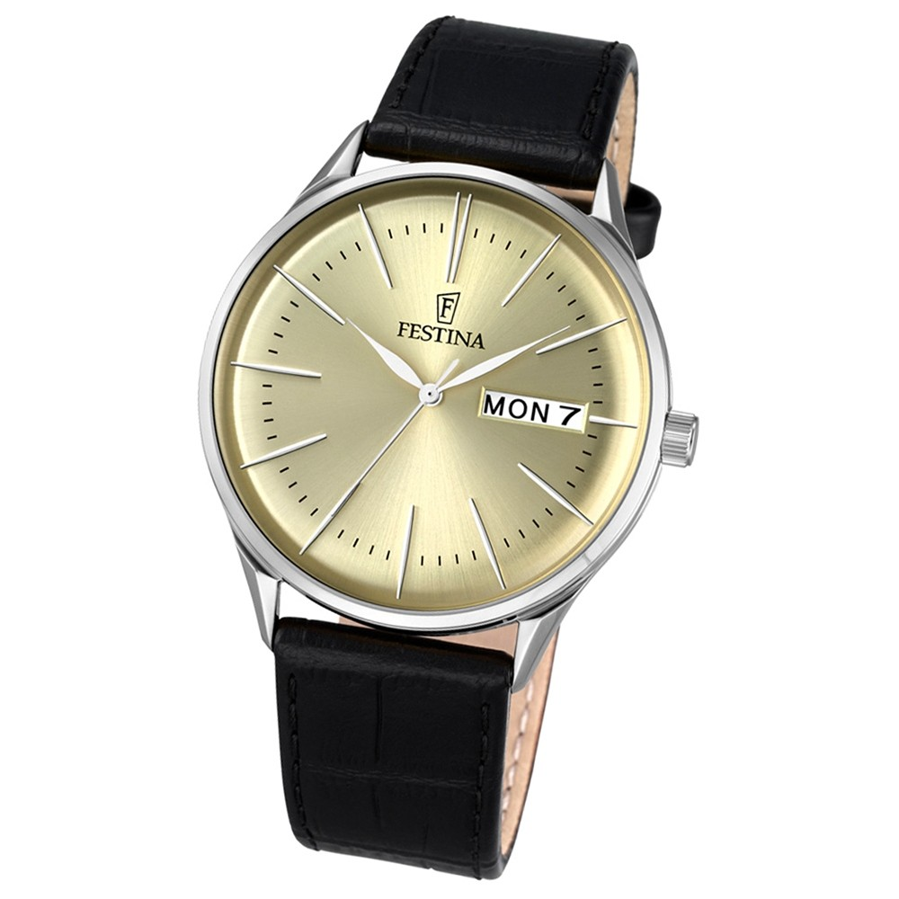 Festina Herren-Uhr klassisch Journees dAchats Quarz Leder schwarz UF6837/2
