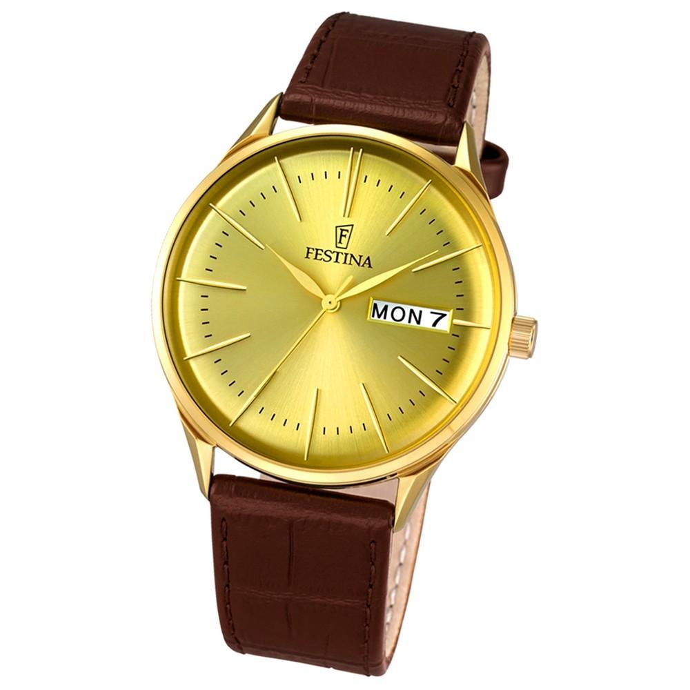 Festina Herren-Uhr klassisch Journees dAchats analog Quarz Leder braun UF6838/2