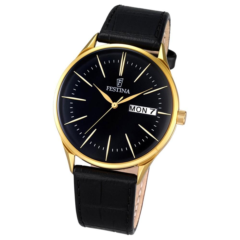 Festina Herren-Uhr klassisch Journees dAchats Quarz Leder schwarz UF6838/3
