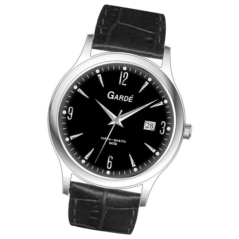 GARDE Herren-Uhr Quarzuhr Elegance 11287 Leder-Armbanduhr UGA11287