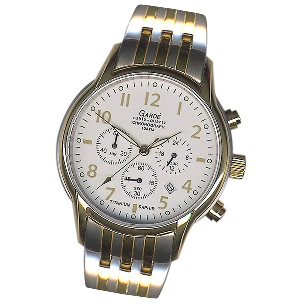 GARDE Herren-Uhr Quarzuhr Chrono 11933S Titan-Armbanduhr UGA11933S