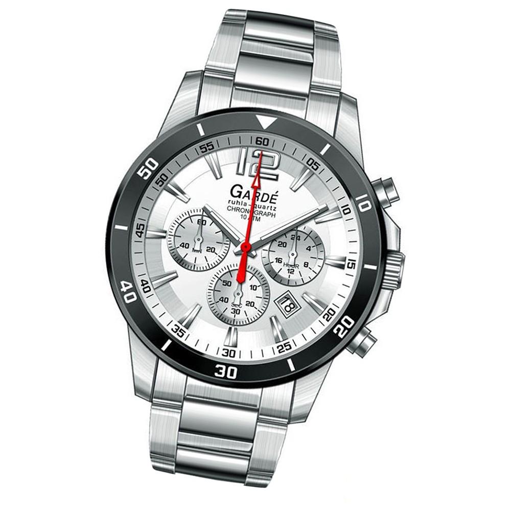 GARDE Herren-Uhr Quarzuhr Chrono 28402 Edelstahl-Armbanduhr UGA28402