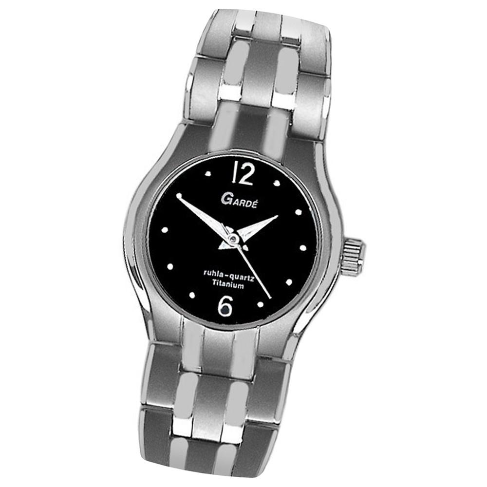 GARDE Damen-Uhr Quarzuhr Elegance 7803-6 Titan Edelstahl-Armbanduhr UGA78036