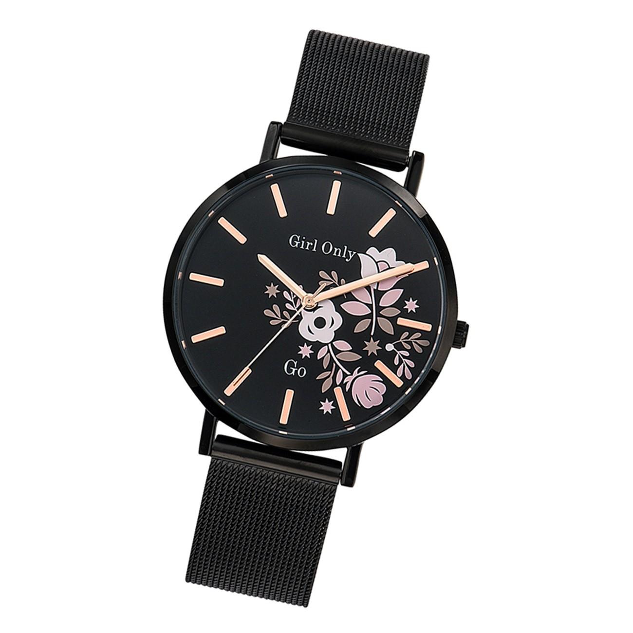 Girl Only Damen Armbanduhr GO 695912 Analog Uhr Edelstahl schwarz UGO695912
