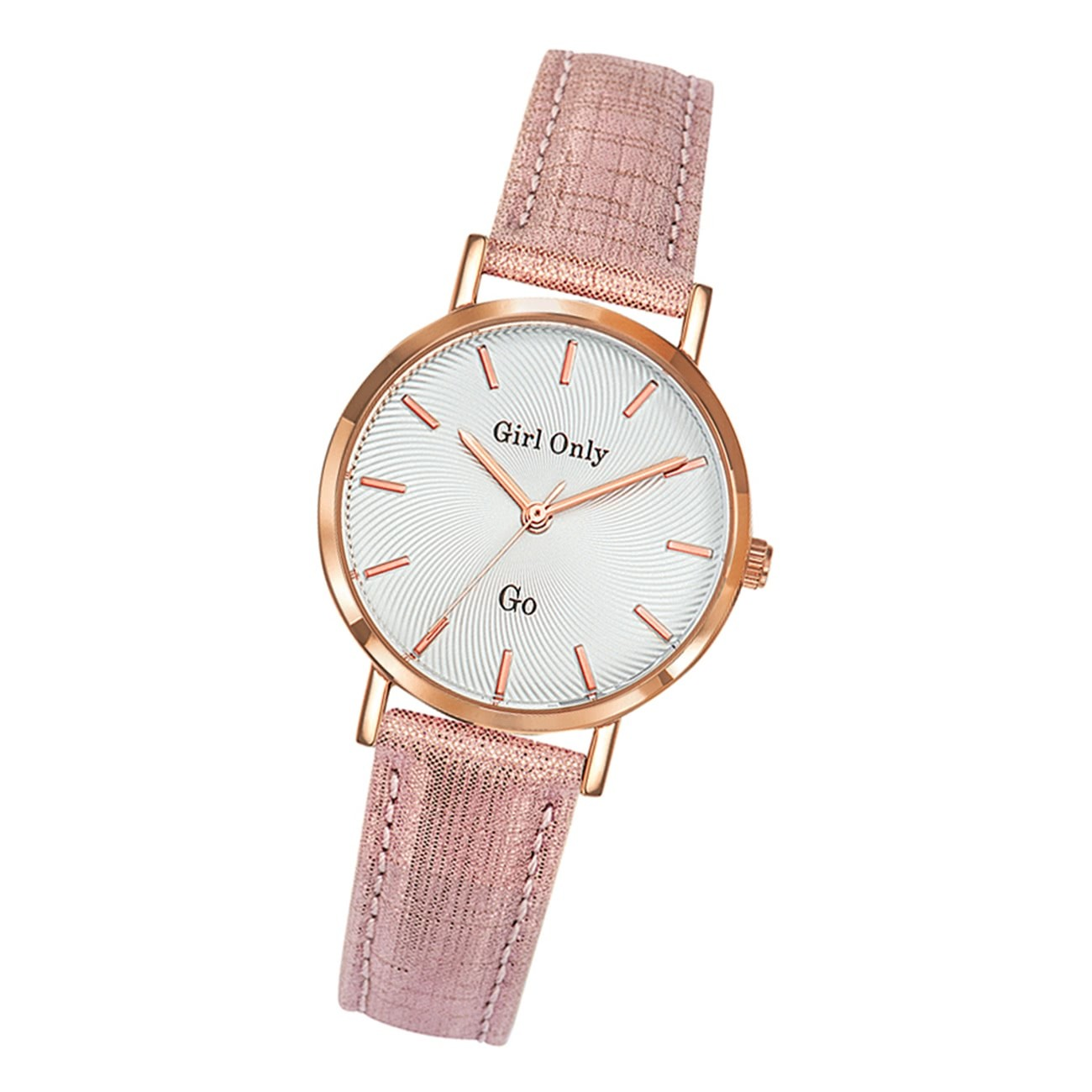 Girl Only Damen Armbanduhr GO 699073 Analog Quarz Uhr Leder rosa UGO699073