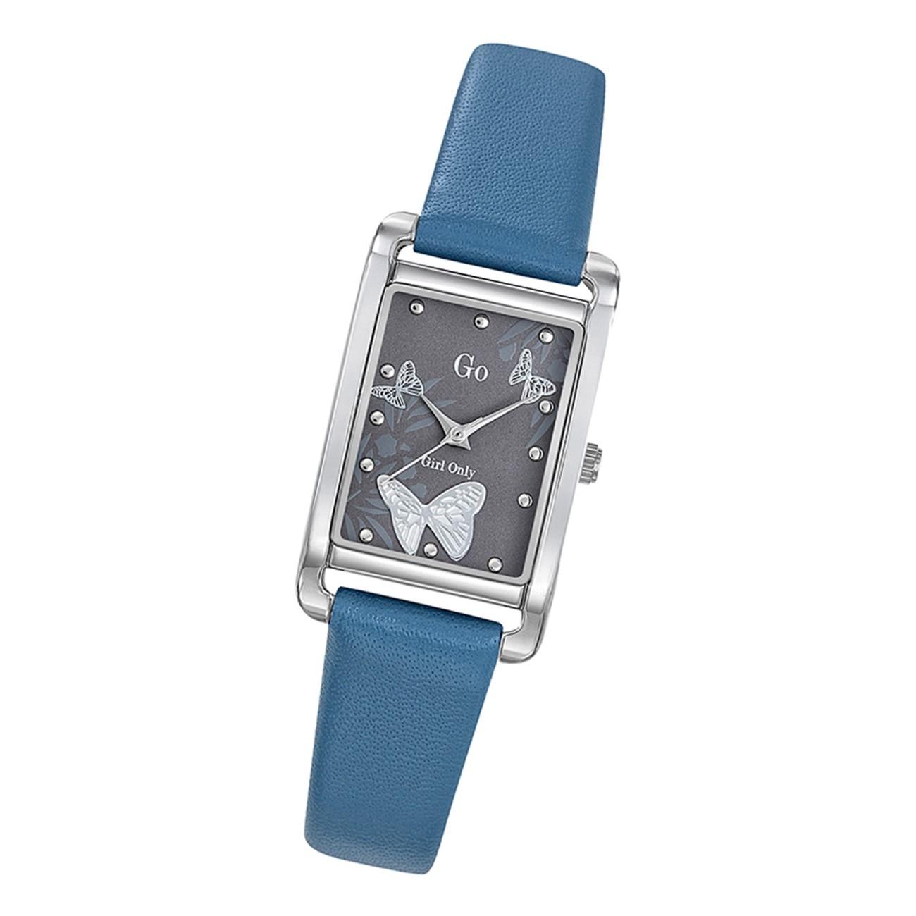 Girl Only Damen Armbanduhr GO 699207 Analog Quarz Uhr Leder blau UGO699207